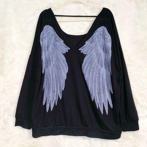 Torrid Black Angel Wing Back Sweatshirt size 3